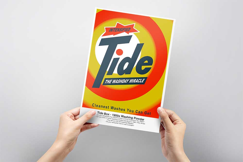 Free activities for dementia patients - box of tide washing powder flash card